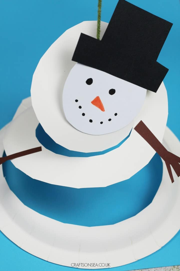spinnning snowman paper plate craft