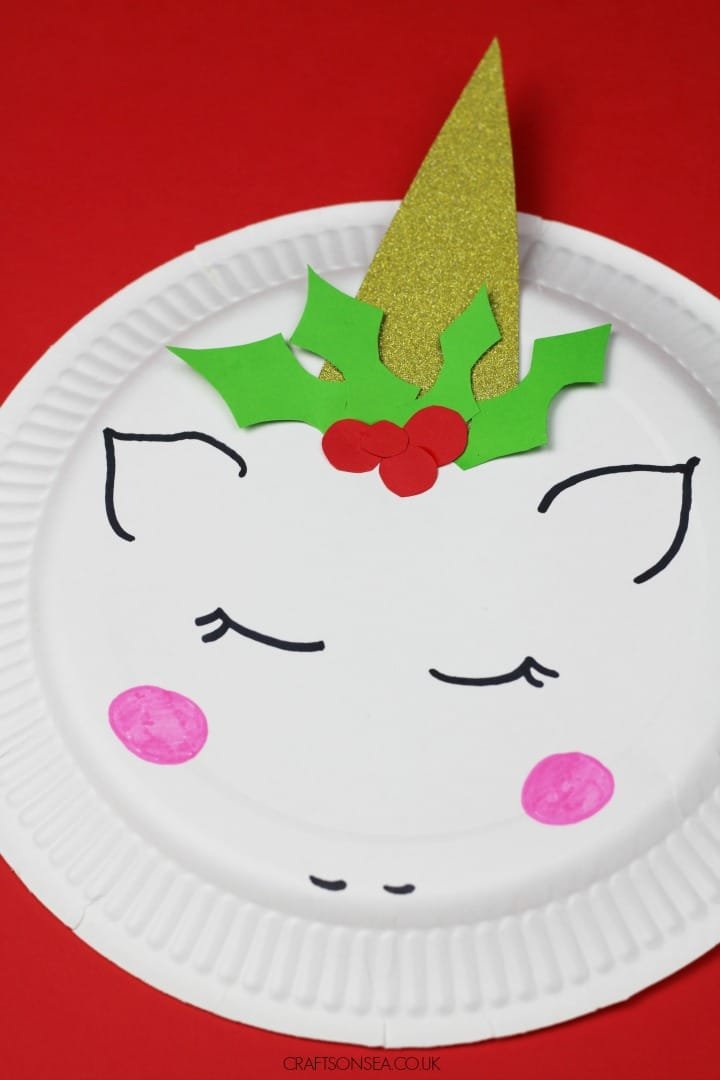 unicorn christmas craft for kids paper plate