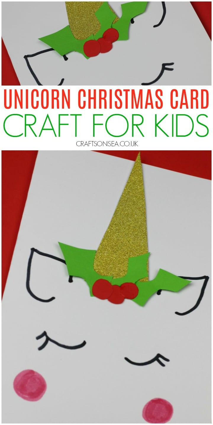 Unicorn Christmas card craft for kids