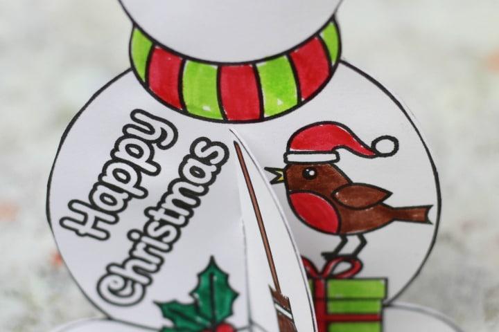 back of free printable snowman christmas card