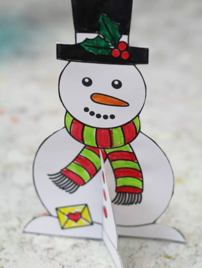 free printable christmas card for kids snowman template