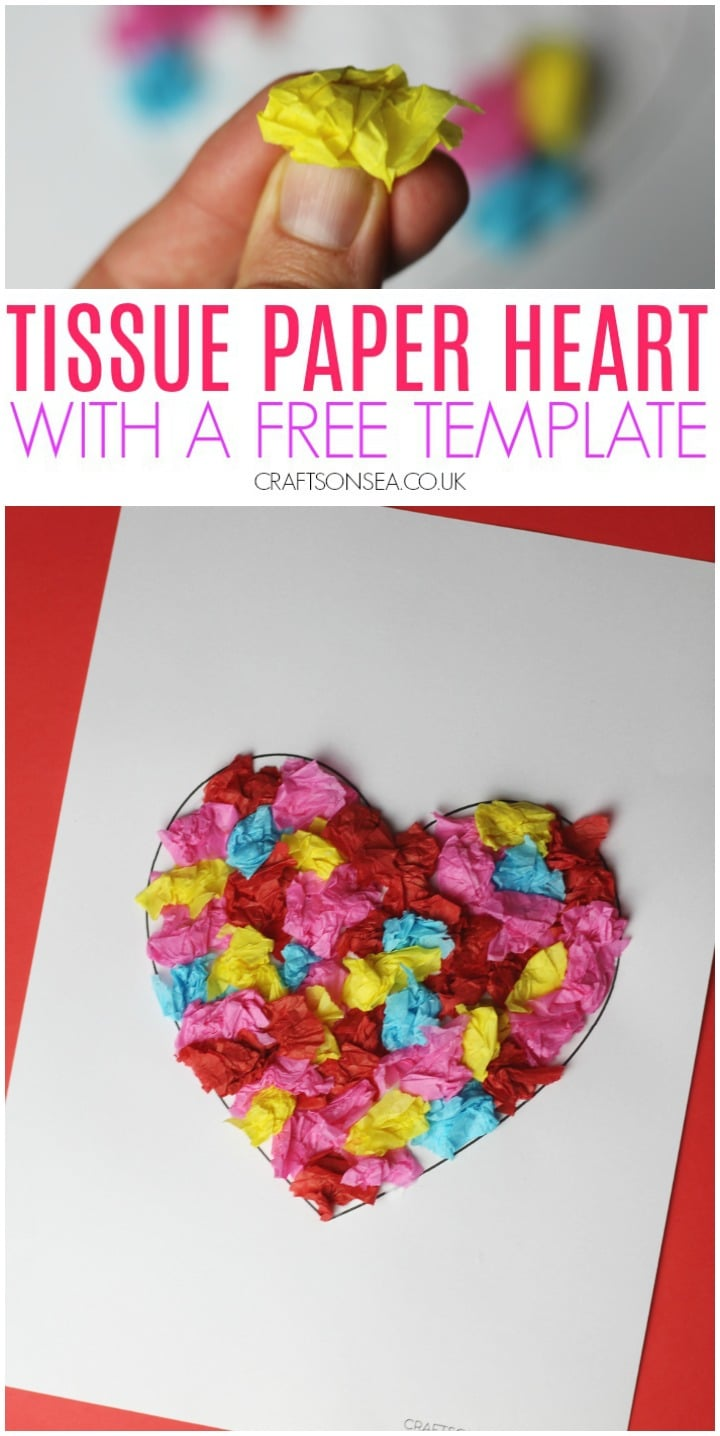 Scrunched Tissue Paper Heart Craft For Kids
