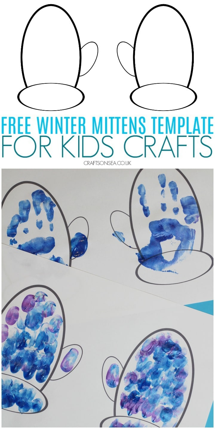 free winter mittens template for kids crafts pdf