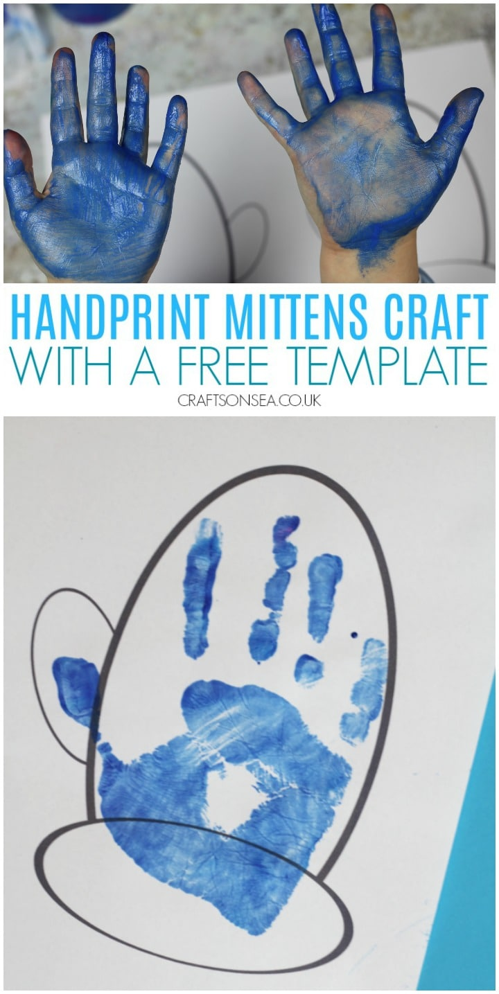 handprint mittens craft with a free template