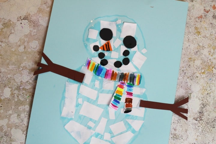 kid made mosaic snowman craft