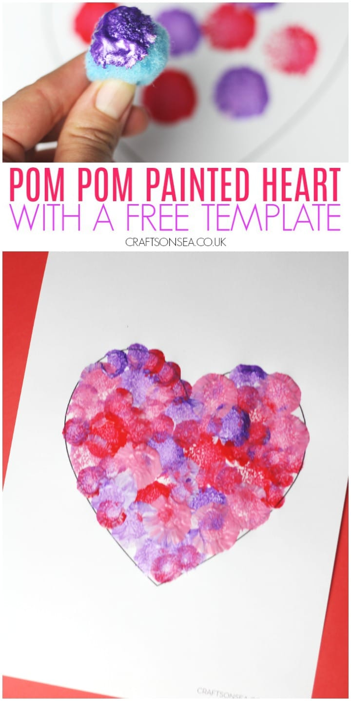 pom pom painted heart craft for kids with a free template
