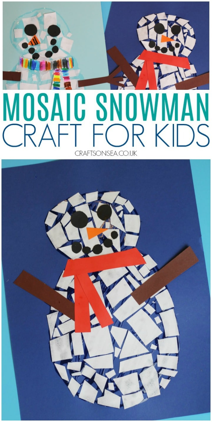 snowman craft for kids to make using mosaic