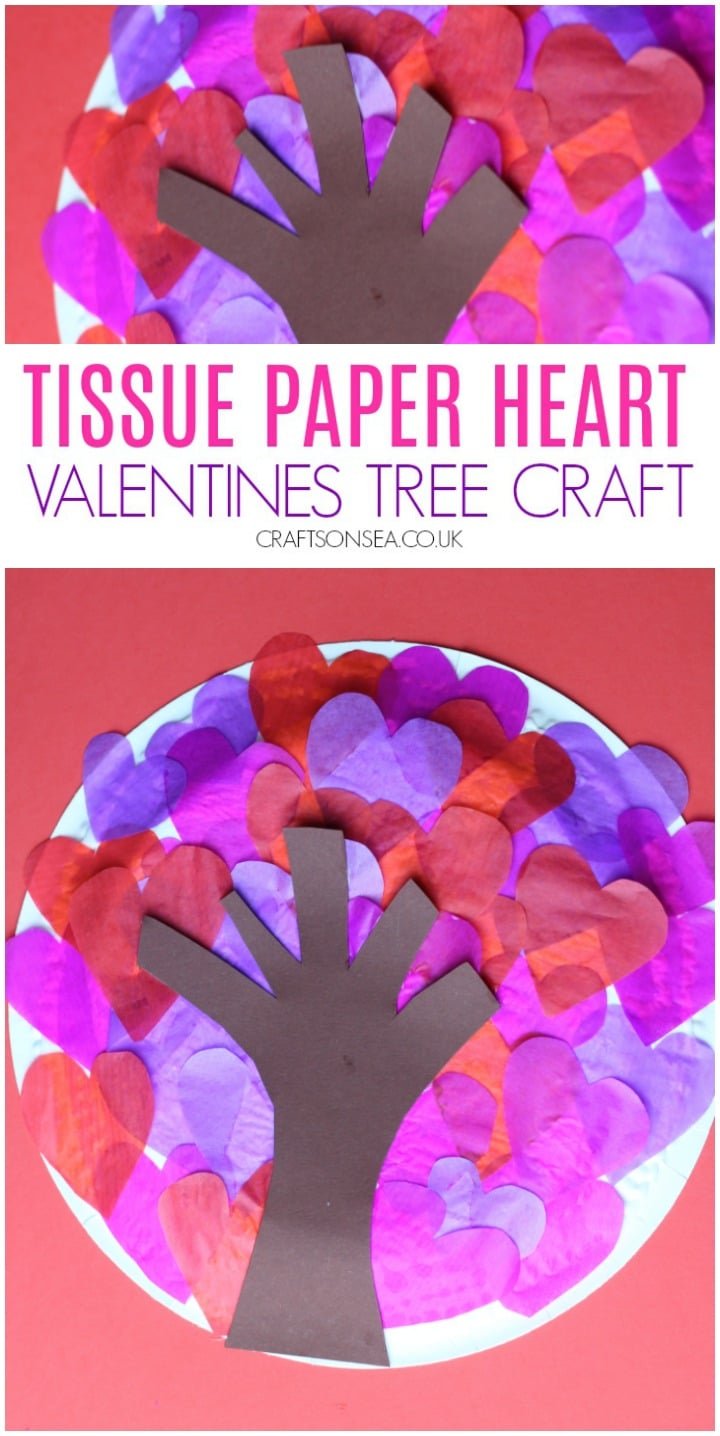 tissue paper heart valentines tree craft