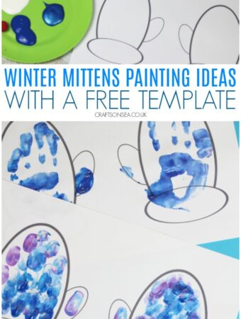 winter mittens painting ideas with a free template