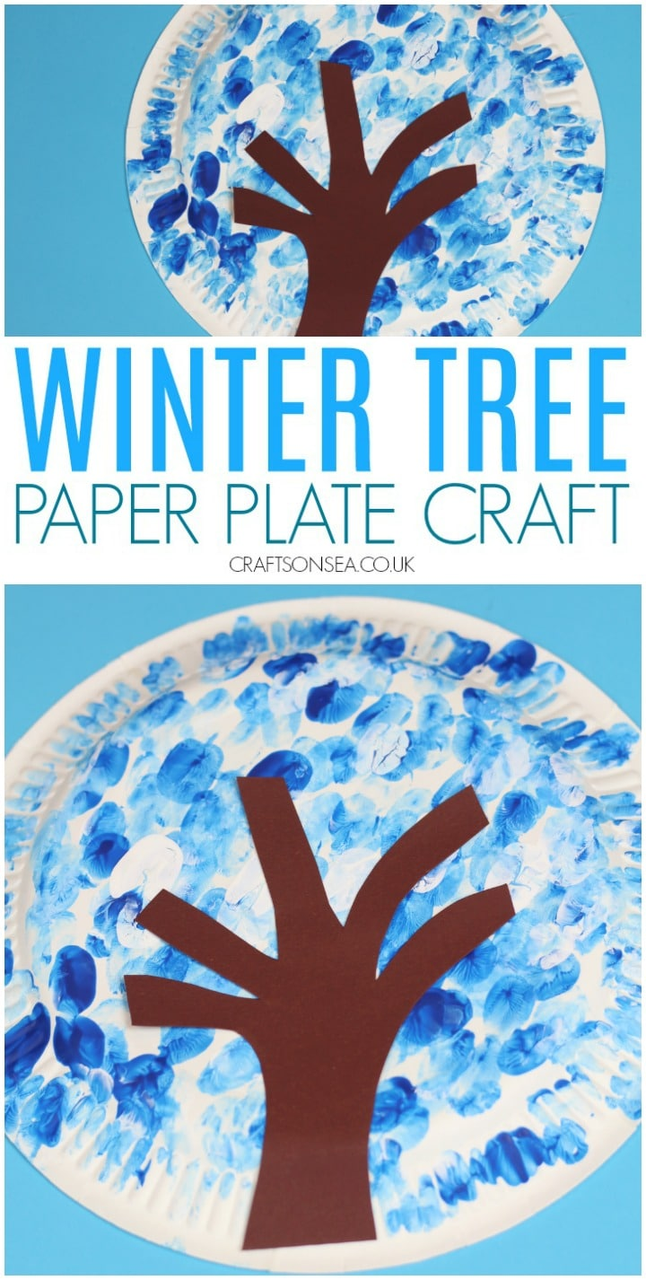 winter tree craft for kids paper plate easy