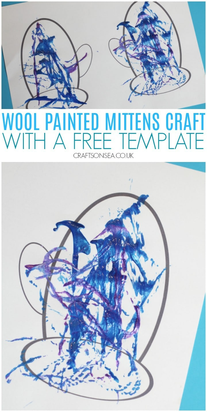 wool painted mittens craft with a free template