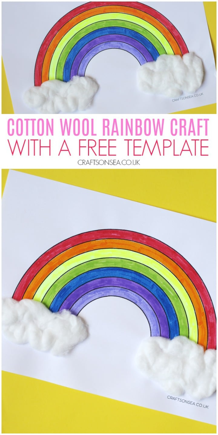 cotton wool rainbow craft with a free template