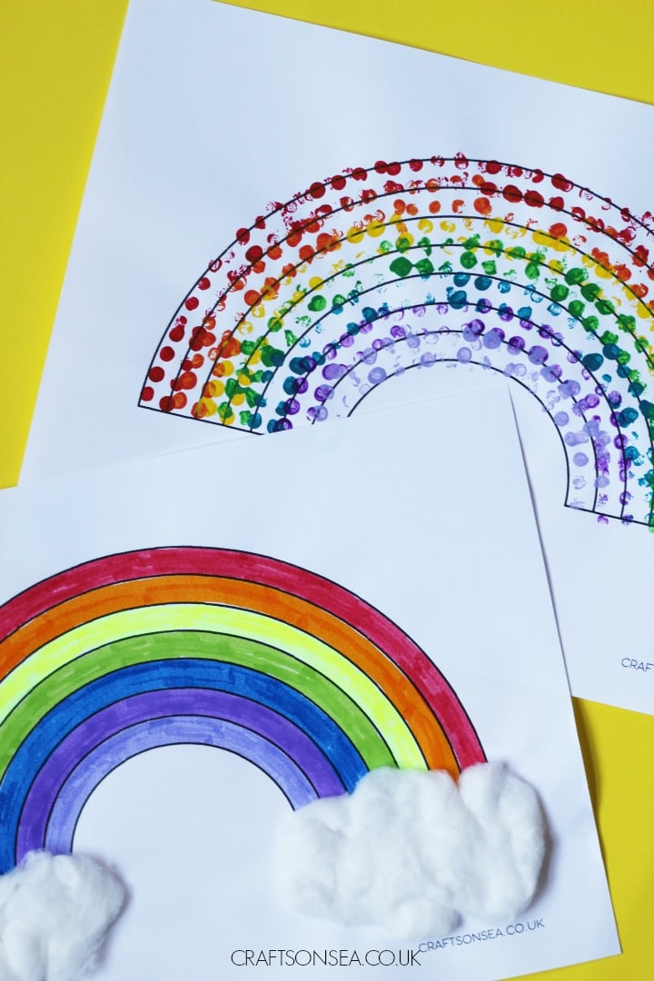 easy rainbow crafts for kids cotton wool and lego printed activities