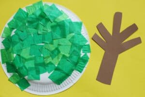 easy spring tree craft for kids paper plate