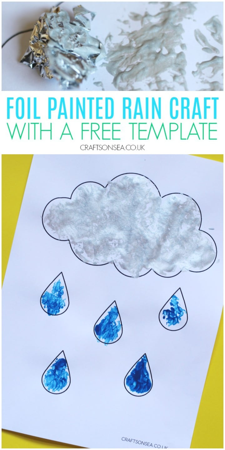 foil painted rain craft for kids