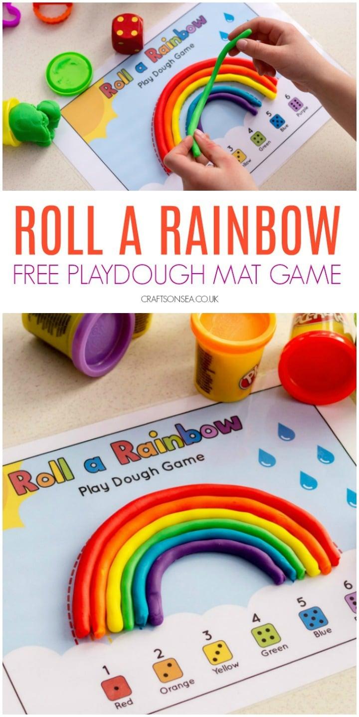 free rainbow playdough mat game preschoolers