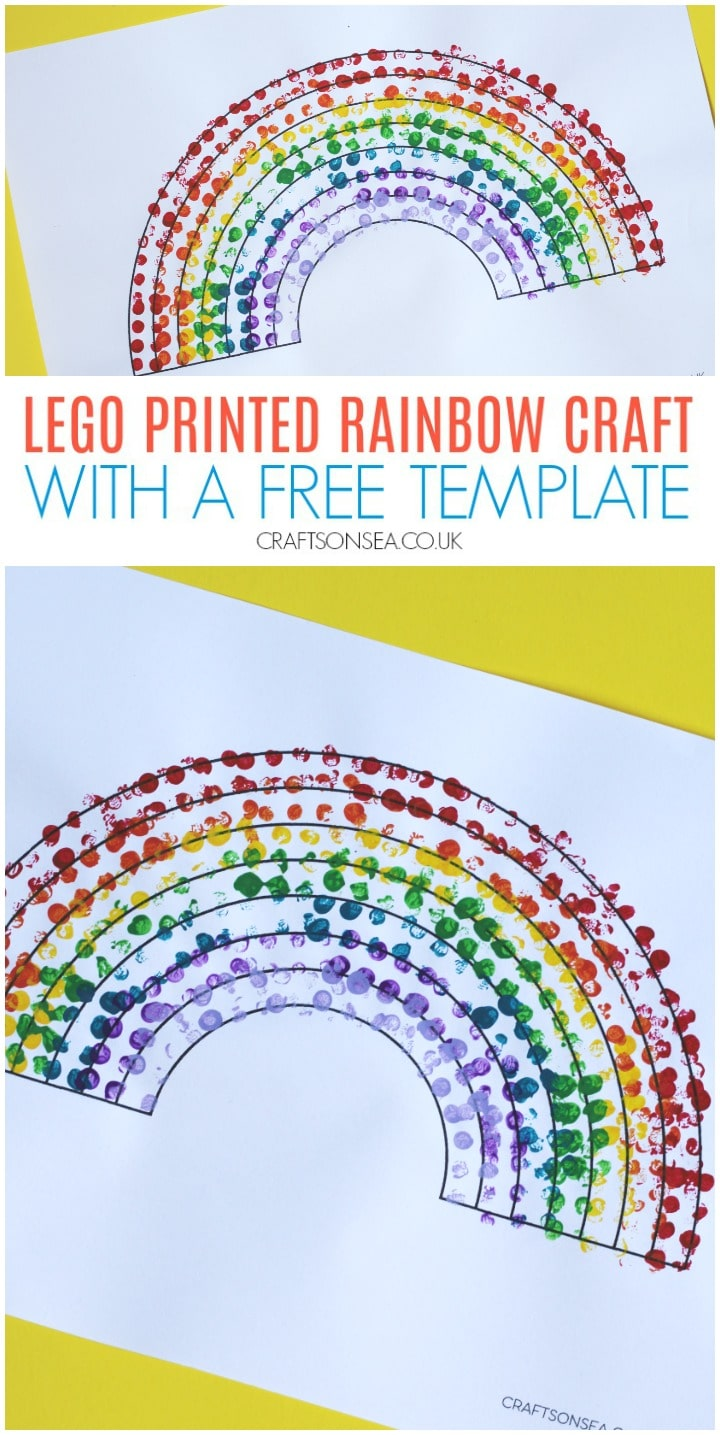 lego printed rainbow craft with a free template