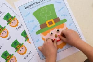 leprechaun playdough mat face