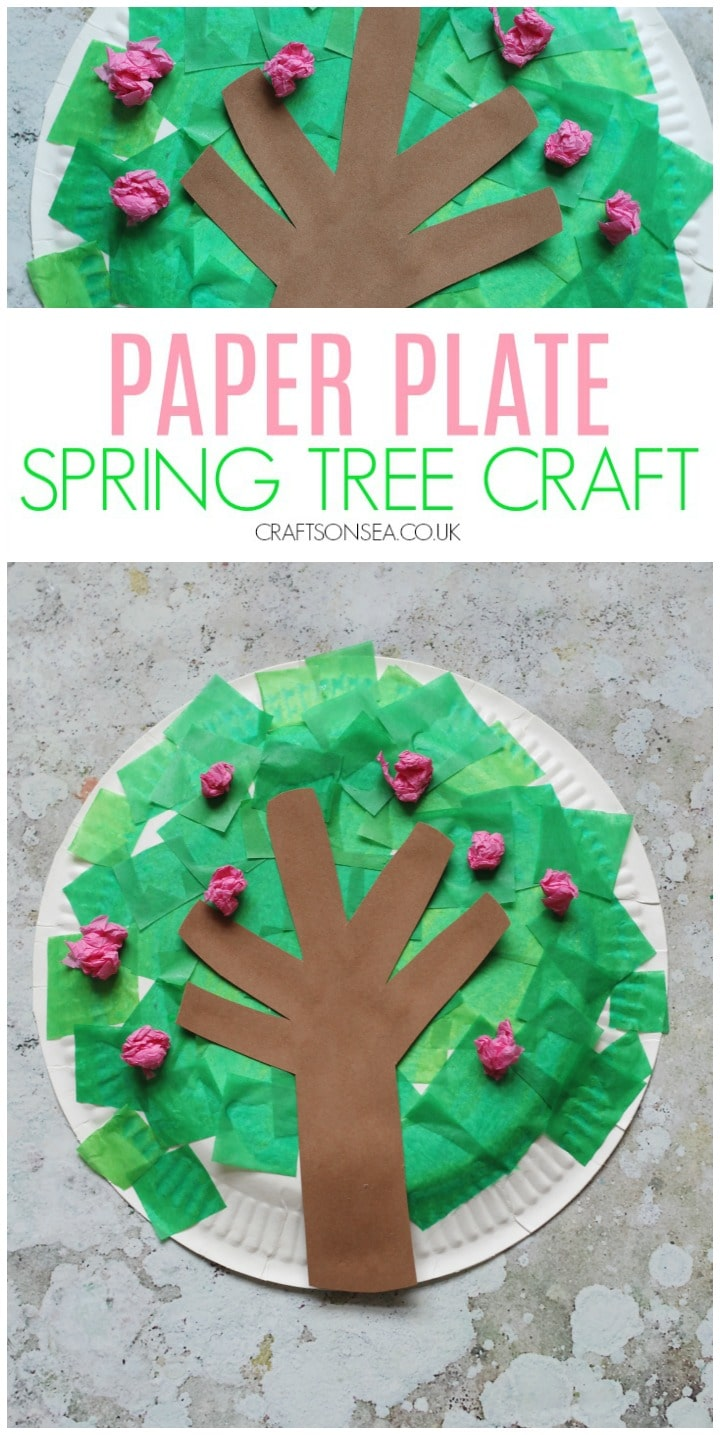 paper plate spring tree craft blossom