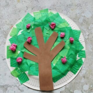 paper plate spring tree craft with tissue paper cherry blossom
