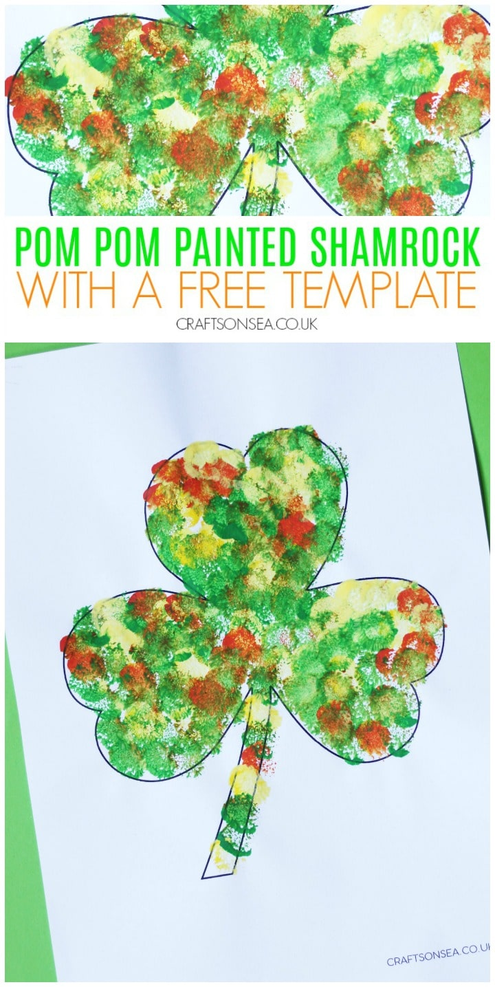 pom pom printed shamrock craft with a free template
