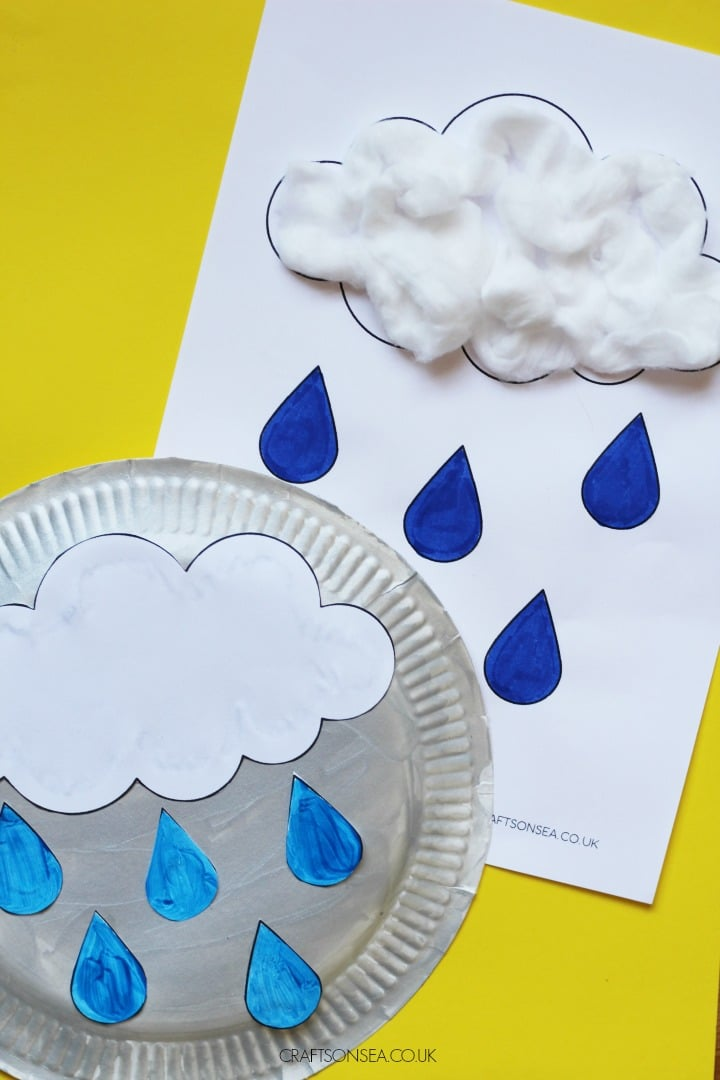 rain crafts for kids paper plate and cotton wool activities