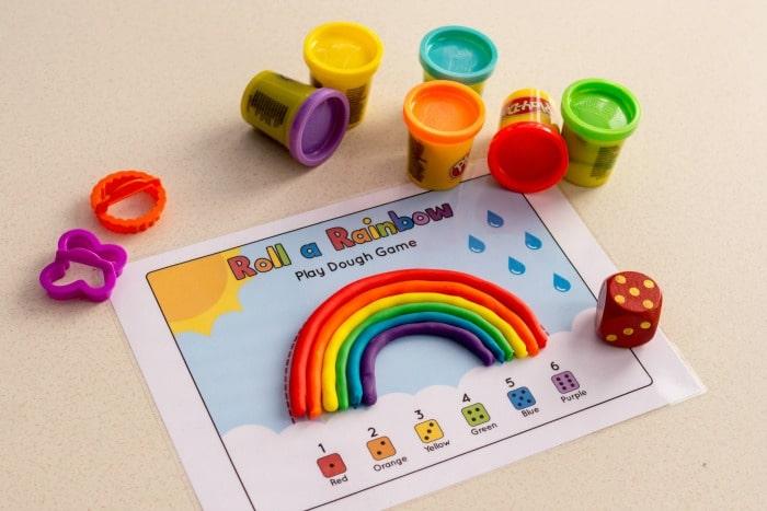 rainbow play dough mat