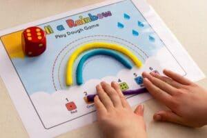 roll a rainbow playdough game teaching colours