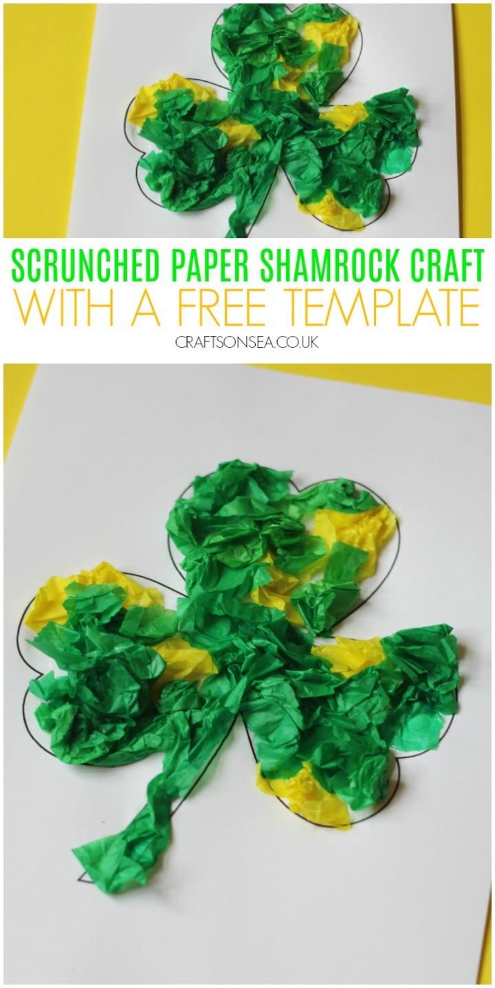 scrunched paper shamrock craft for kids