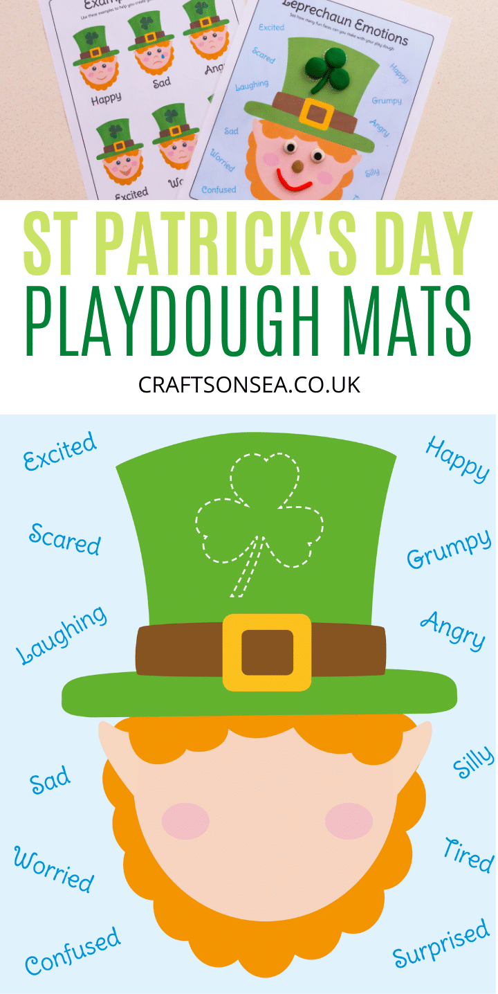 st patricks day playdough mats leprechaun emotions