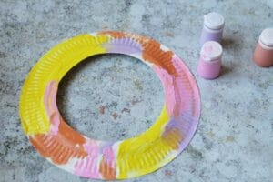 easter paper plate wreath craft for toddlers