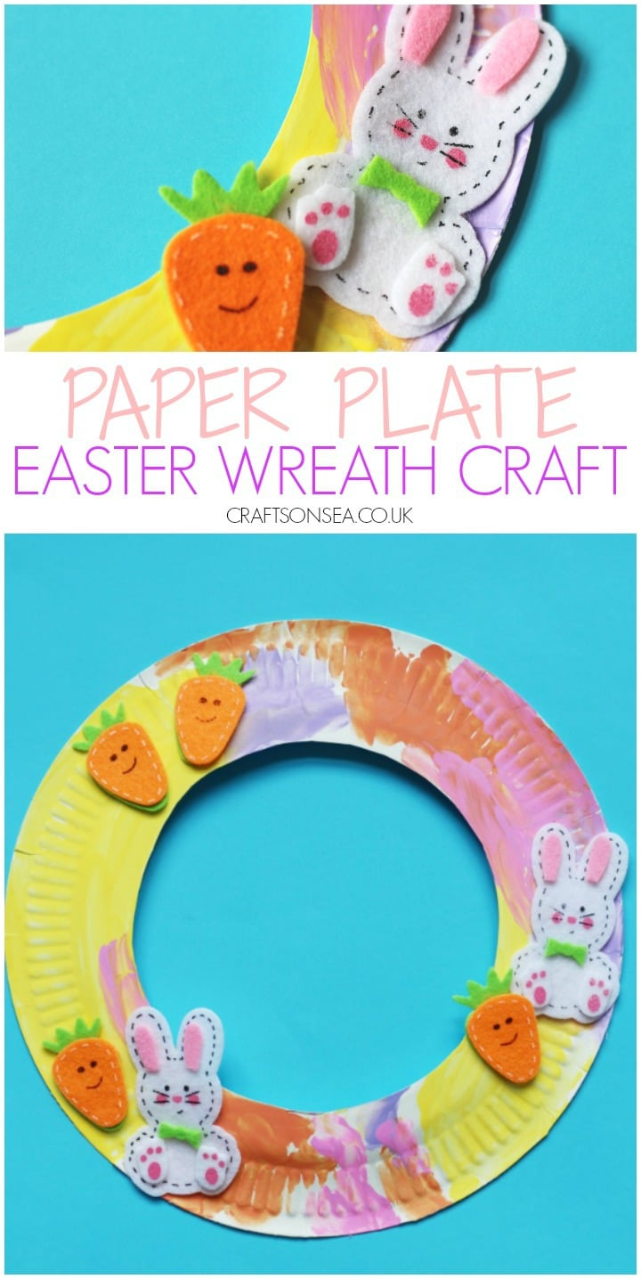 easter wreath craft for kids paper plate