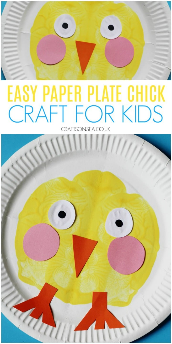 easy paper plate chick craft for kids paint splat