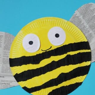 paper plate bee craft with recycled newspaper and torn paper