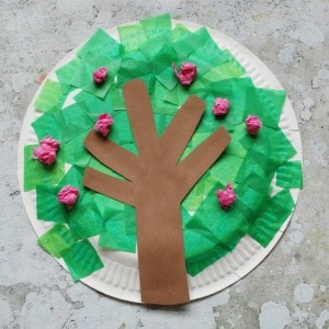 paper plate spring tree
