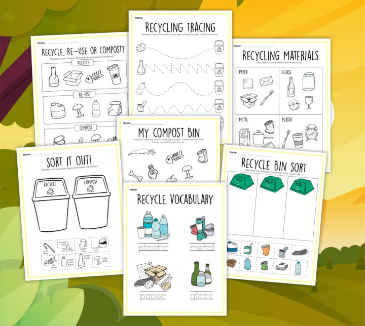 free recycling activities for kids printables earth day