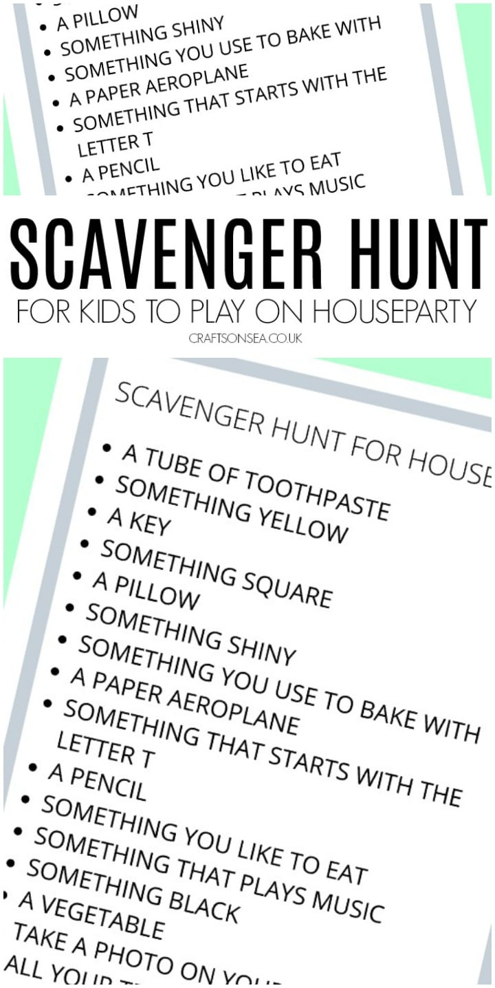 houseparty scavenger hunt for kids free printable