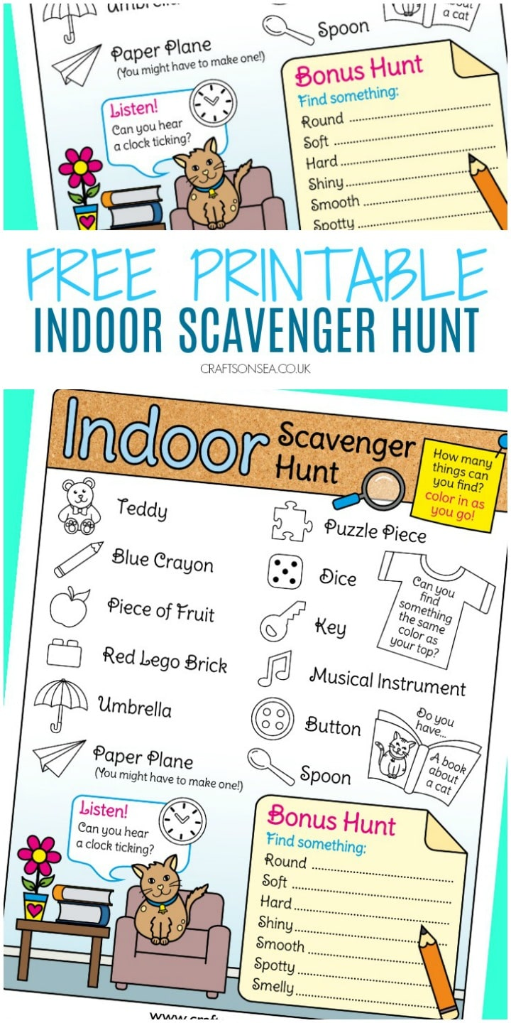 indoor scavenger hunt for kids printable