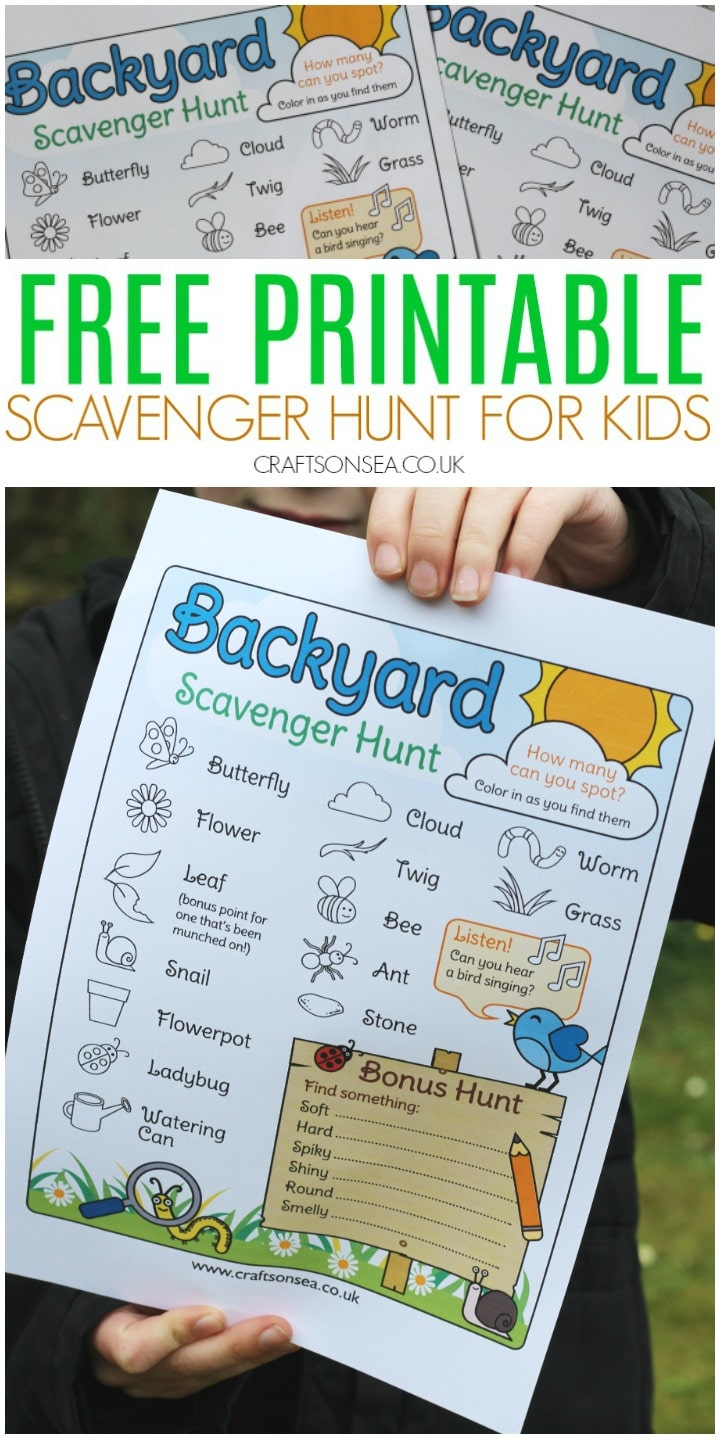 outdoor scavenger hunt for kids free printable backyard