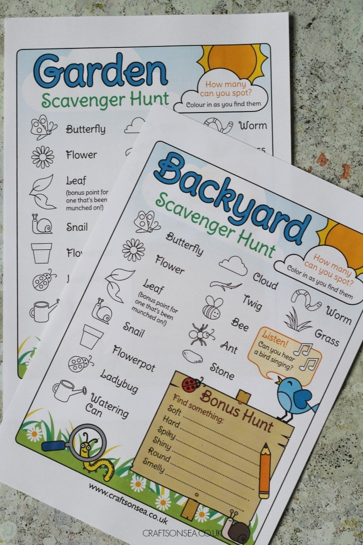 outdoor scavenger hunt for kids