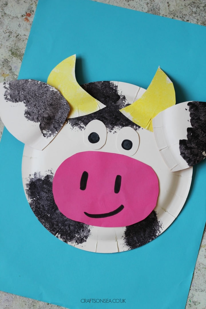 paper plate cow craft for kids