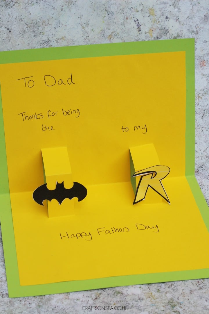 DC comics fathers day card kids can make