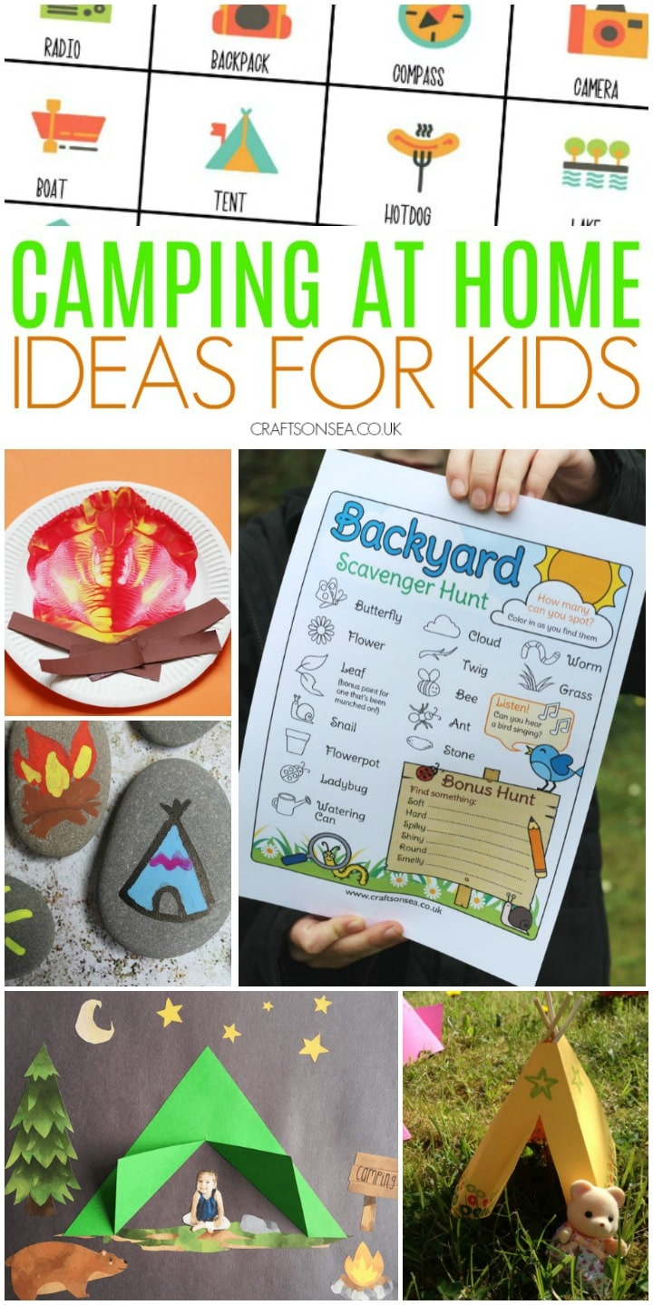 camping activities for kids at home crafts printables