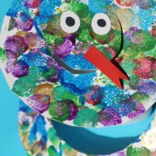 paper plate snake craft for kids pom poms