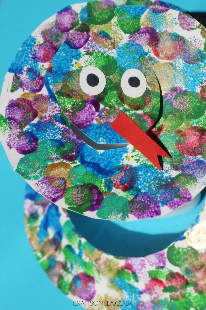 paper plate snake craft for kids pom poms