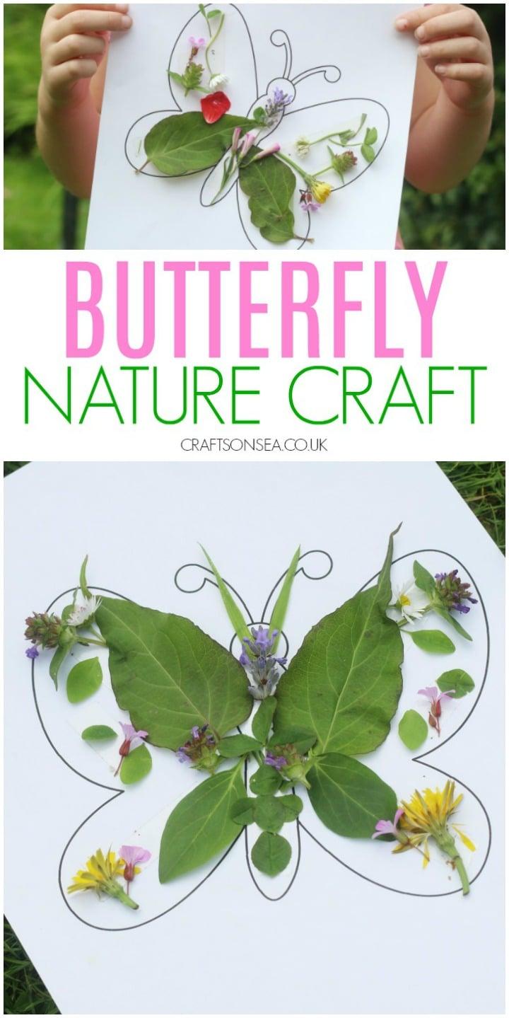 activité artisanale de papillon nature pour les enfants