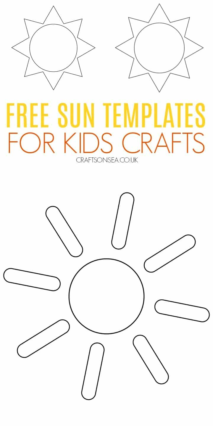 sun template for kids crafts art PDF downloadable