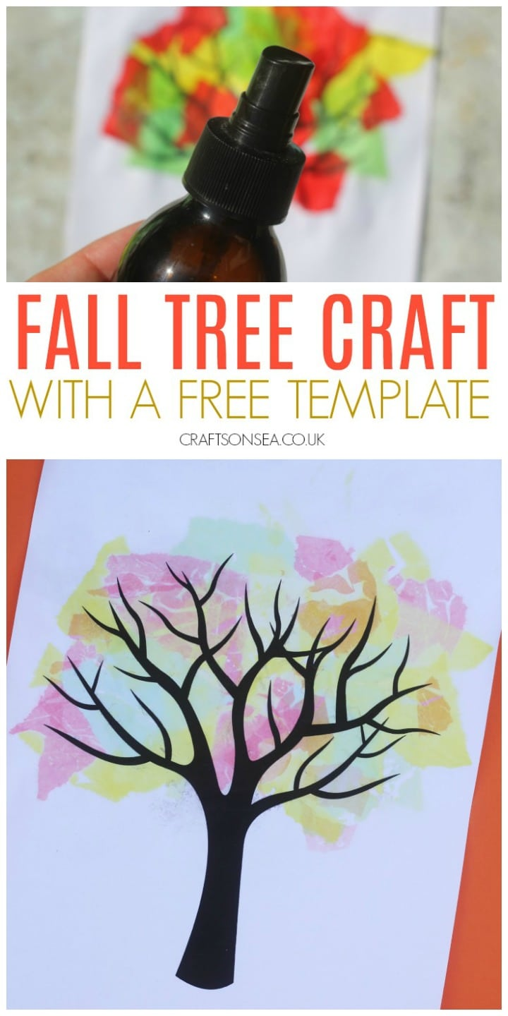 Bleeding tissue fall tree craft with a template