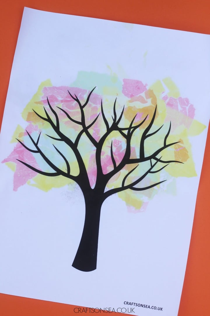 bleeding tissue paper fall tree craft