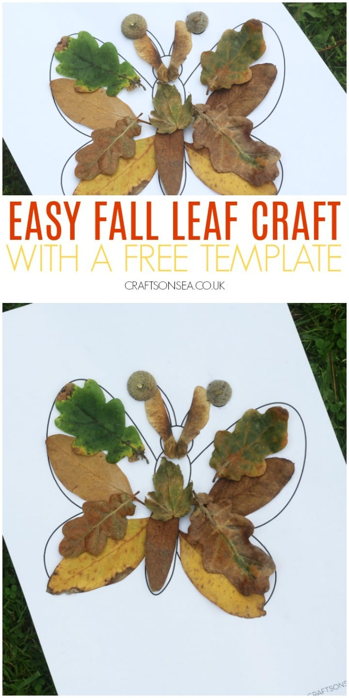 easy fall leaf craft for kids butterfly